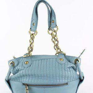 BCBGMAXAZRIA Quilted Blue Leather Chain Shoulder
